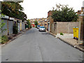SP1482 : Service road behind Hobs Moat Road shopping parade, Olton by Robin Stott