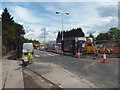 SP1482 : Remodelling north gate of Land Rover works, Lode Lane, Olton by Robin Stott