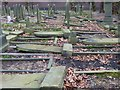 SP0588 : Recumbent gravestones in Key Hill Cemetery by Rob Farrow