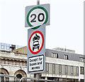 J3474 : 20mph speed limit sign, Queen's Square, Belfast (March 2015) by Albert Bridge