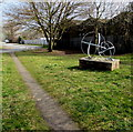 SO6554 : Two metal spheres on a base, Bromyard by Jaggery