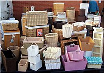 TF0920 : Basket work for sale at Bourne market, Lincolnshire by Rex Needle