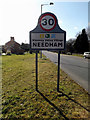 TM2382 : Needham Village Name sign on High Road by Adrian Cable