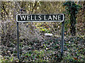 TM2382 : Wells Lane sign by Adrian Cable