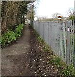 SM9703 : Path alongside a railway perimeter fence, Pembroke Dock by Jaggery
