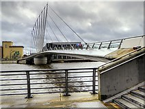 SJ8097 : MediaCityUK Pedestrian Swingbridge by David Dixon
