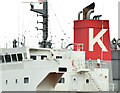 "J3575 : ""K"" Line funnel, Belfast harbour (April 2015) by Albert Bridge"