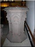 NY2623 : Keswick St John: font by Basher Eyre