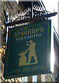 NZ1666 : Sign for Smithy's Bar & Bistro by JThomas