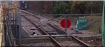 TQ3837 : Network Rail stops here - close-up by Roger W Haworth