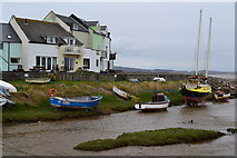 SD1678 : Houses and boats beside Haverigg Pool by David Martin
