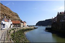 NZ7818 : Staithes Beck runs into Staithes Harbour by Russel Wills