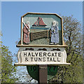 TG4106 : Halvergate and Tunstall village sign (detail) by Adrian S Pye