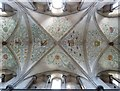 SU9007 : View upwards at Boxgrove Priory church ceiling by Rob Farrow