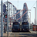 SD3033 : Two trams at the Pleasure Beach, Blackpool by Robin Stott