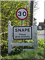 TM3958 : Snape Village Name sign on the B1069 Church Road by Geographer