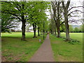 SO5012 : Tree-lined path through Chippenham recreation ground, Monmouth by Jaggery