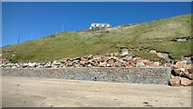 SH1726 : Sea wall at Aberdaron by Helen