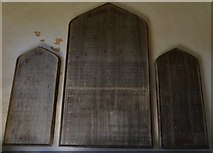 SK8707 : Egleton: St. Edmund's Church: Boards in the entrance porch by Michael Garlick