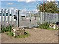 TQ0866 : Firing range fence, Desborough Island by Alan Hunt