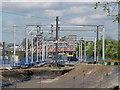 TQ2282 : Railway sidings and power gantries, Old Oak area by David Hawgood