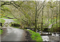 NY2822 : Stream, paths and road beside Rakefoot by Trevor Littlewood