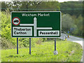 TM3764 : Roadsign on the A12 Saxmundham Bypass by Adrian Cable