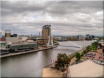 SJ8097 : Manchester Ship Canal and Lowry Bridge at Salford Quays by David Dixon