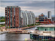 SJ8097 : City Lofts and NV Buildings, Salford Quays by David Dixon