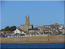 SW4730 : St Mary's Church, Penzance,  from Mount's Bay by Michael Steele