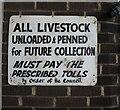 SX8571 : Notice, Newton Abbot Livestock Market by Derek Harper