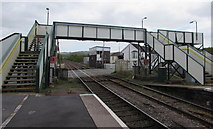 SN1916 : Whitland railway station footbridge and signalbox by Jaggery