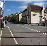 SN1916 : Station Road level crossing barriers up, Whitland by Jaggery