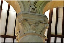 SK8608 : Oakham Castle: Carved capital in the Great Hall 5 by Michael Garlick