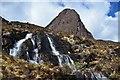 NG8042 : Waterfalls and the Cioch, Sgurr a' Chaorachain by Jim Barton