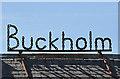 NT4838 : Buckholm Farm sign by Walter Baxter