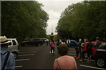 TQ3470 : View up the hill in the National Sports Centre car park to the Joseph Paxton statue #2 by Robert Lamb