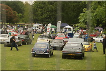 TQ3470 : View of classic cars at the National Sports Centre #2 by Robert Lamb
