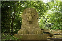 TQ3370 : View of a sphinx on the cordoned off piece of palace terrace from the main Crystal Palace terrace by Robert Lamb