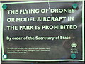 TQ2882 : Sign - No drone flying in Regent's Park by David Hawgood