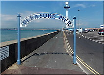 SY6878 : Weymouth Pleasure Pier archway and harbour byelaws notice by Jaggery