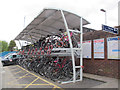 TQ0171 : Egham station: cycle parking (up side) by Stephen Craven