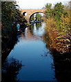 SO8555 : Canal between two bridges in Worcester by Jaggery