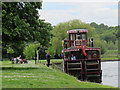 TQ0072 : The Lucy Fisher tying up at Runnymede by Stephen Craven