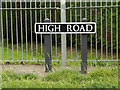 TM0980 : High Road sign by Adrian Cable