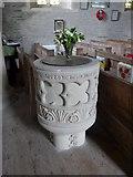 SS6243 : St Thomas, Kentisbury: font by Basher Eyre