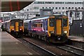 SJ8398 : Passing trains, Salford Central railway station by El Pollock