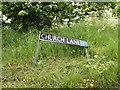 TM0780 : Church Lane sign by Adrian Cable