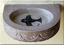 TQ1289 : St Luke, Love Lane, Pinner - Holy water stoup by John Salmon