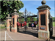 TM0458 : The War Memorial Gates to the Recreation Ground by Adrian S Pye